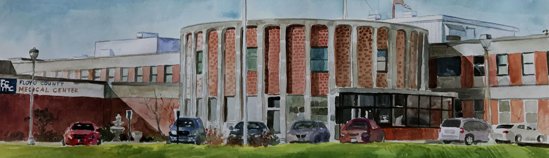 Front of FCMC facility in watercolor